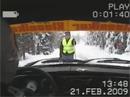 Gunnar Fredriksson kör SAAB V4 på vinterväg